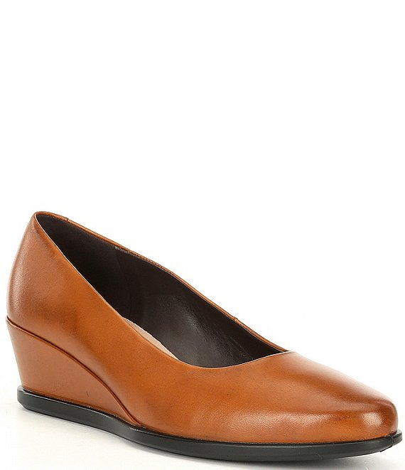 Color:Brown - Image 1 - Shape 45 Leather Wedge Pumps