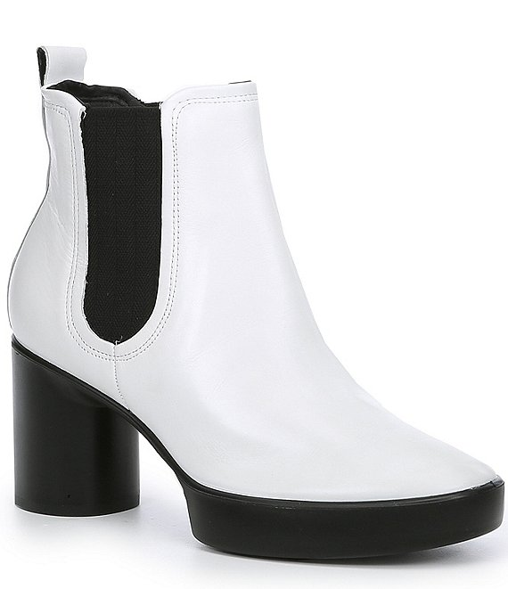 Color:White - Image 1 - Shape Sculpted Motion 55 Chelsea Leather Block Heel Ankle Boots