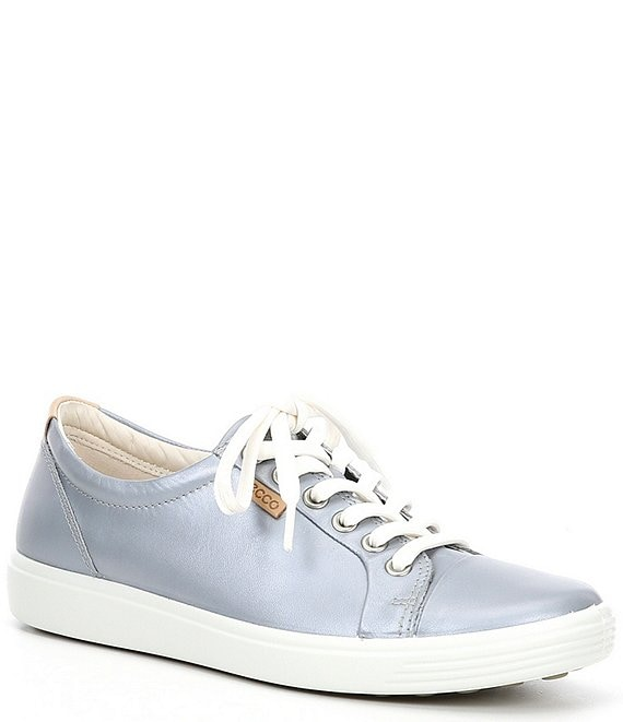 Color:silver - Image 1 - Soft 7 Leather Lace-Up Sneakers