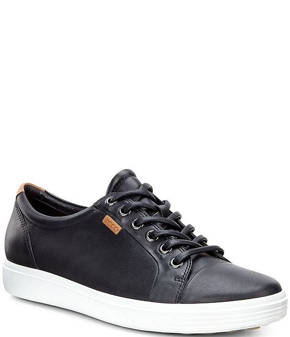 Color:Black - Image 1 - Soft 7 Leather Lace-Up Sneakers
