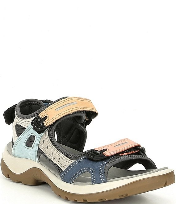 ECCO Women's Yucatan Offroad Multi Colored Banded Outdoor Sandals