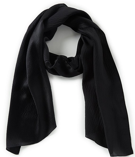 Color:Black - Image 1 - Hammered Silk Oblong Scarf