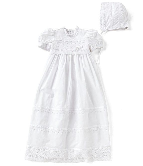 Color:White - Image 1 - Baby Girls Newborn-12 Months Victorian Christening Gown & Matching Bonnet Set
