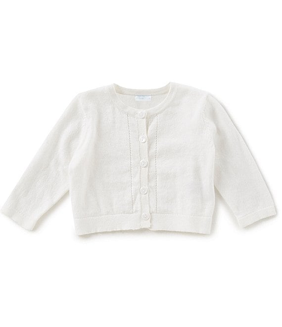 Color:Ivory - Image 1 - Baby Girls Newborn-24 Months Button-Front Cardigan Sweater