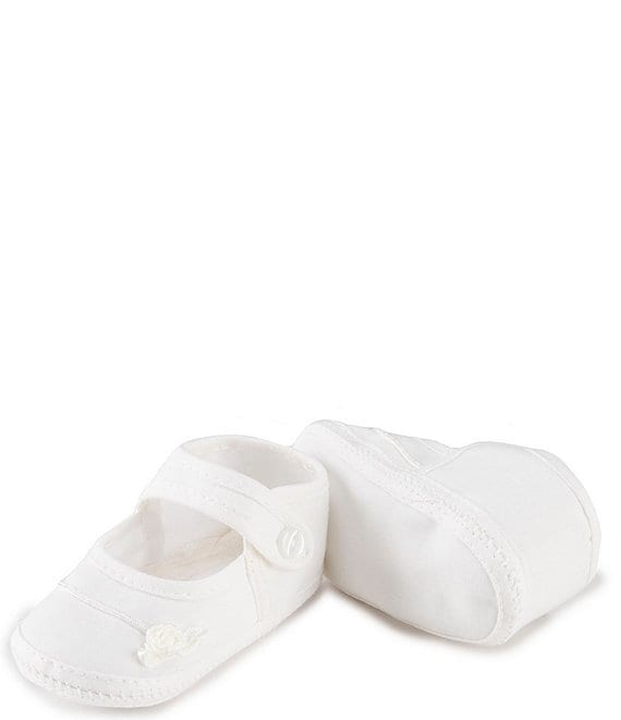 Edgehill Collection Baby Girls' Newborn-9 Months Christening Rosebud Crib Shoes