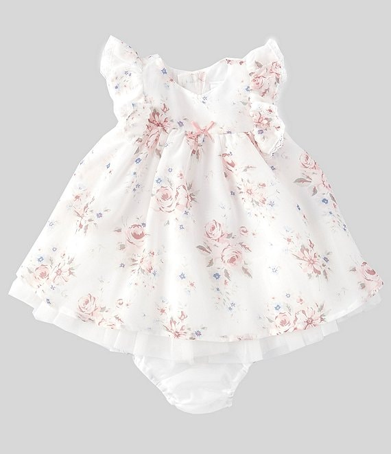 Color:Multi Floral - Image 1 - Baby Girls Newborn-9 Months Floral Chiffon Dress & Panty Set