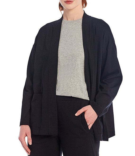 Color:Black - Image 1 - High Collar Organic Cotton Stretch Jersey Kimono Jacket