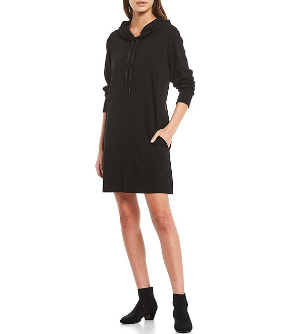 Color:Black - Image 1 - Organic Cotton Blend Stretch Jersey Hooded Drawcord Long Sleeve Dress