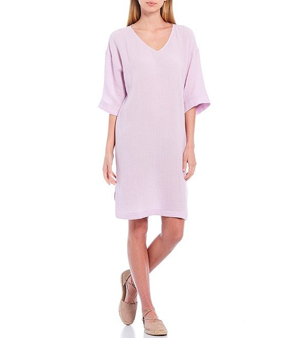 Color:Mallow - Image 1 - Organic Cotton Lofty Gauze V-Neck Elbow Sleeve Knee Length Shift Dress