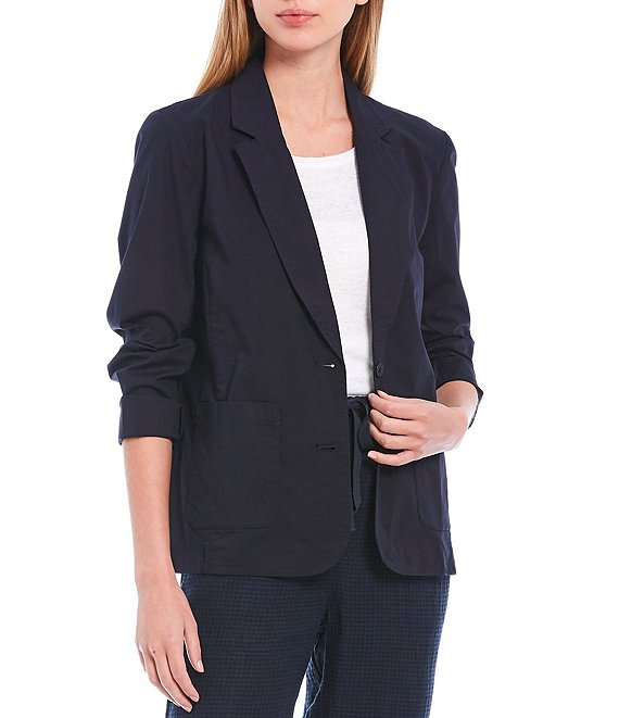 Color:Ink - Image 1 - Petite Size Organic Cotton Stretch Poplin Notch Collar Shaped Jacket
