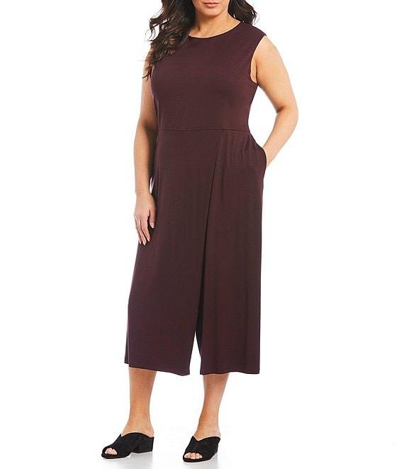 2faa7d56968 Eileen Fisher Plus Size Bateau Neck Cropped Wide Leg Jumpsuit | Dillard's