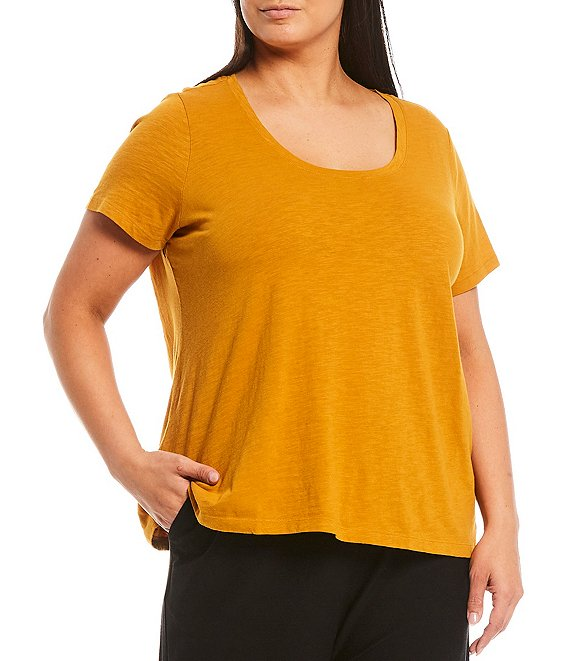 Color:Goldenrod - Image 1 - Plus Size Slubby Organic Cotton Jersey U-Neck Short Sleeve Tee
