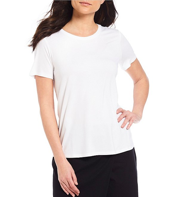 Color:White - Image 1 - Round Neck Short Sleeve Tee