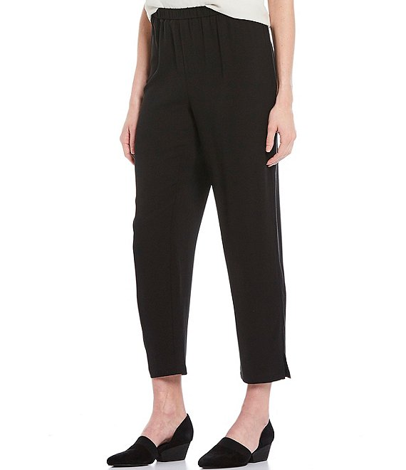 Color:Black - Image 1 - Silk Georgette Crepe Tapered Pant With Side Slits