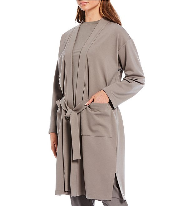 Color:Smoke - Image 1 - Stretch Ponte Knee Length High Collar Belted Jacket