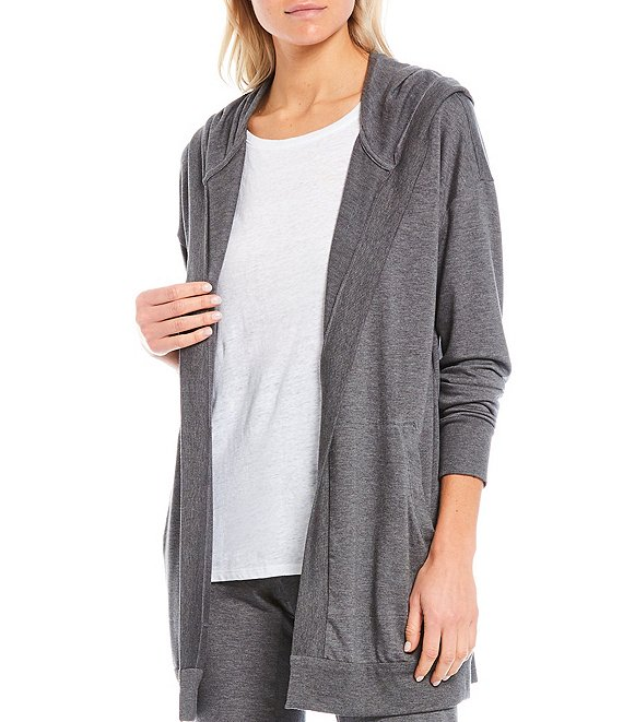 Color:Ash - Image 1 - Stretch Terry Drop Shoulder Hooded Long Jacket With Pockets