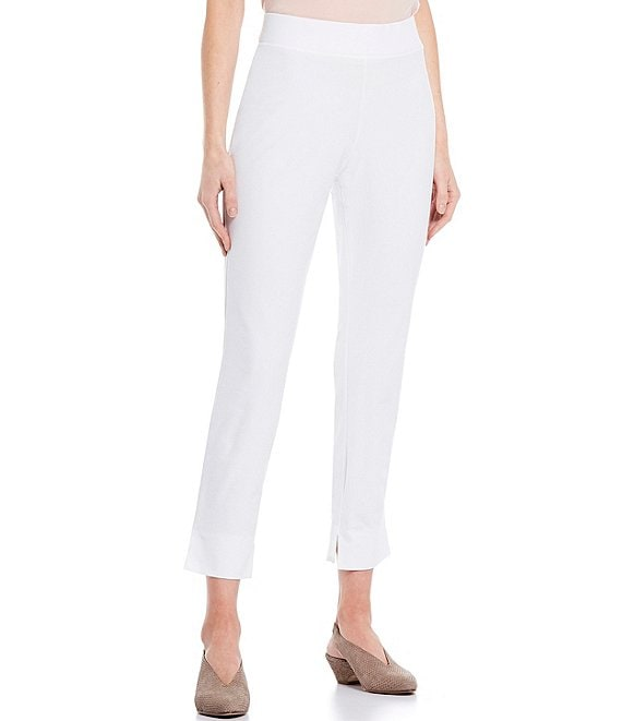 Color:White - Image 1 - Washable Stretch Crepe Slim Ankle Pant With Side Slits