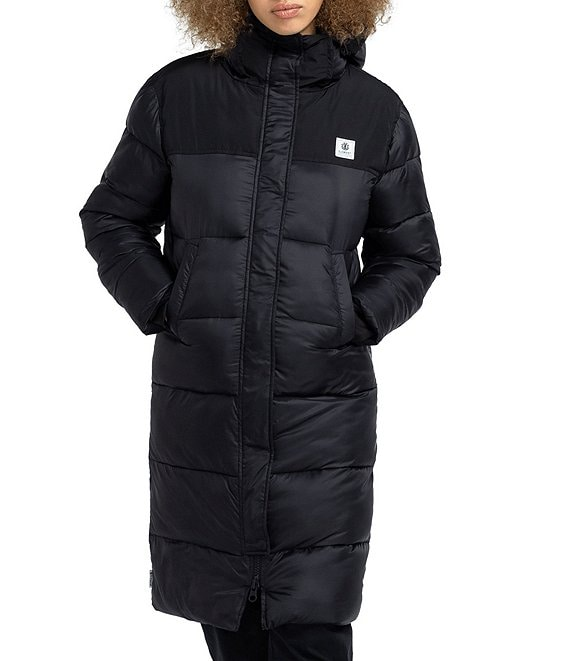 Color:Flint Black - Image 1 - Dulcey Light Weight Hooded Long Puffer Jacket