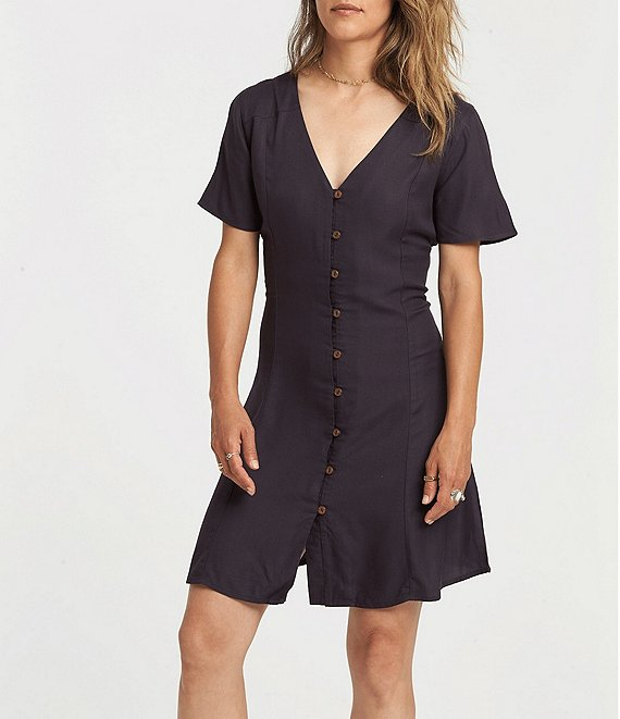 Color:Off Black - Image 1 - Sue Twill Short Sleeve Button Front Dress