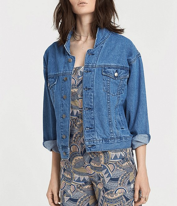 Color:Medium Stonewash - Image 1 - Superstition Long-Sleeve Oversized Vintage-Fit Denim Jacket