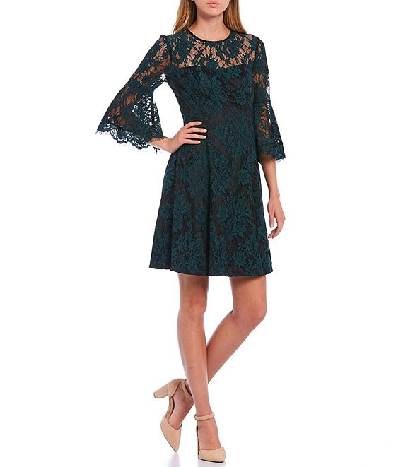 Eliza J 3/4 Bell Sleeve Illusion Lace Dress