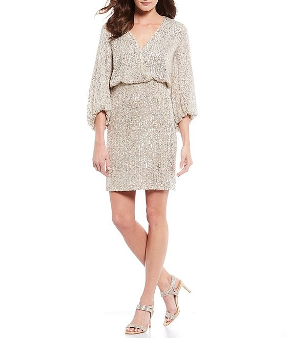 Eliza J Allover Sequin Faux Wrap Blouson Dress