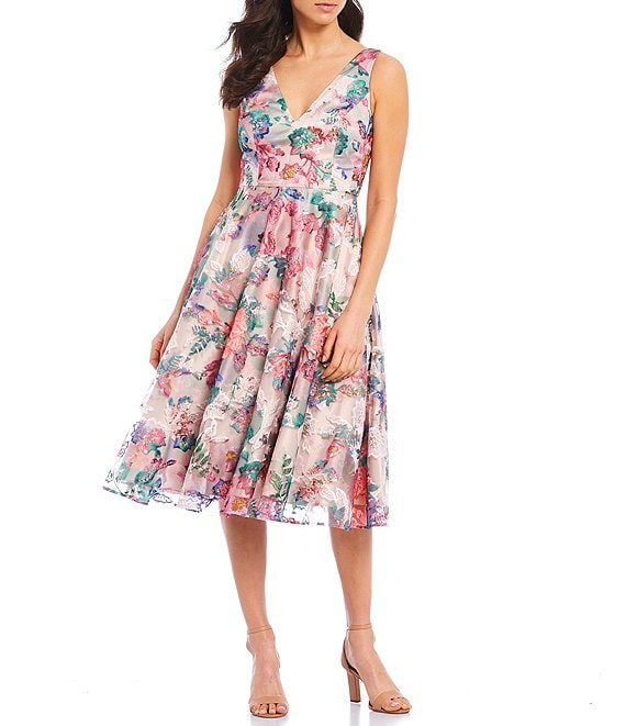 Color:Multi - Image 1 - Floral Print Illusion Overlay V-Neck Sleeveless A-Line Midi Dress