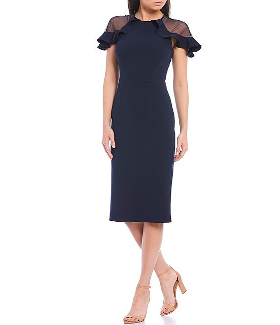 Color:Navy - Image 1 - Illusion Sleeve Ruffle Detail Scuba Crepe Sheath Dress