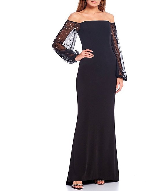 Color:Black - Image 1 - Off-the-Shoulder Long Sleeve Scuba Crepe Mermaid Gown