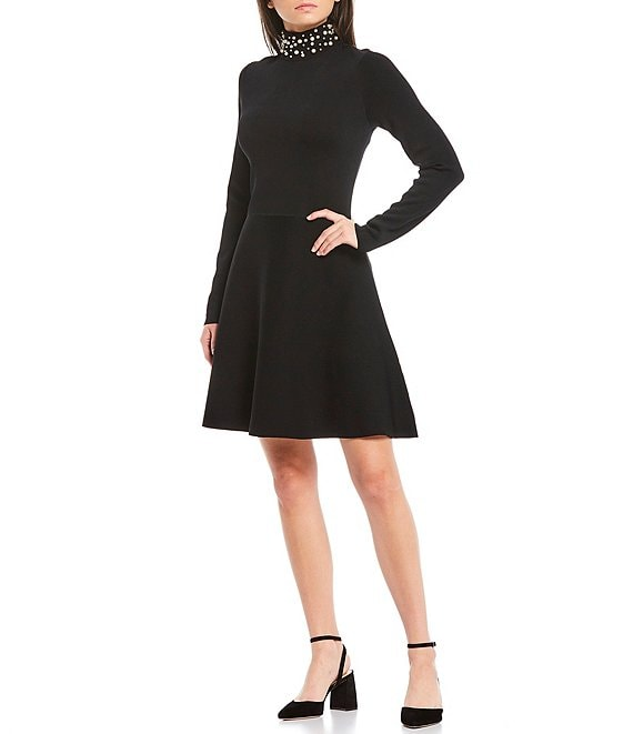 Color:Black - Image 1 - Pearl Mock Neck Long Sleeve A-Line Dress