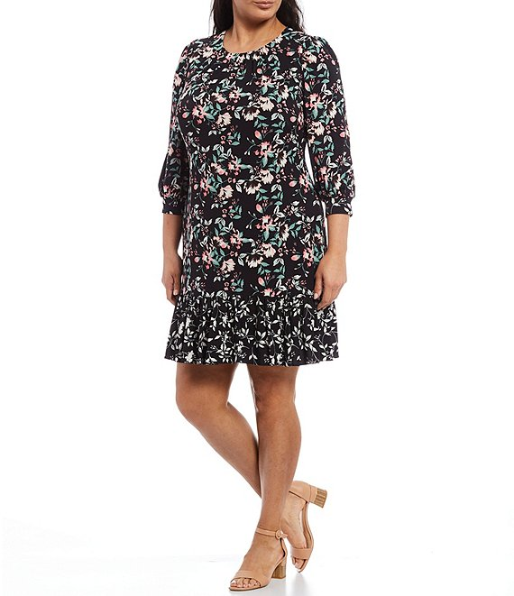 Color:Black Multi - Image 1 - Plus Size Floral 3/4 Sleeve Round Neck Tiered Ruffle Hem Dress