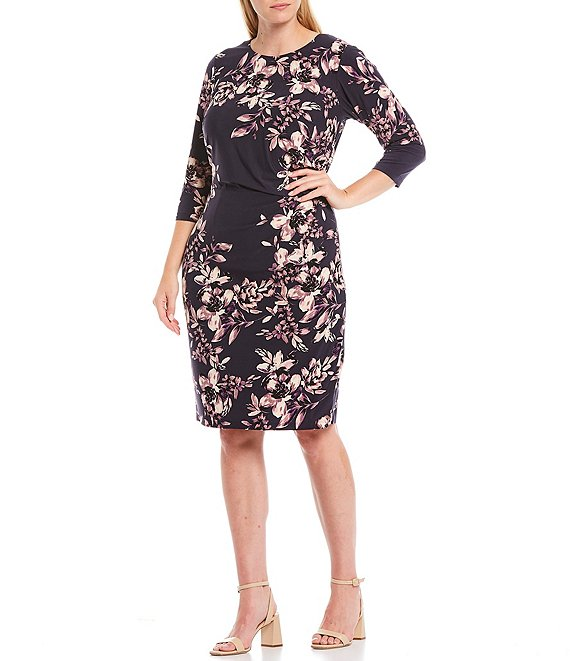 Color:Navy - Image 1 - Plus Size Floral 3/4 Sleeve Sheath Dress