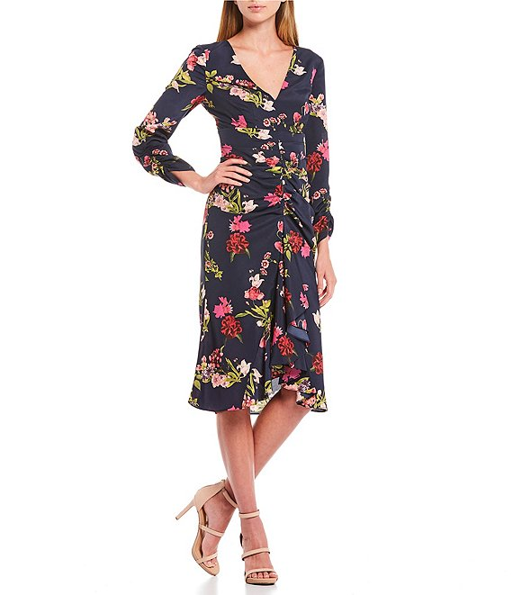 Color:Navy Multi - Image 1 - Ruffle Front Floral Crepe De Chine V-Neck Long Sleeve Tulip Midi Dress