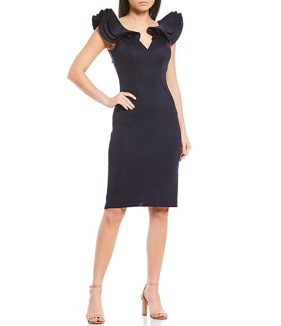 Color:Navy - Image 1 - Ruffle Sleeve Plunge Neck Scuba Sheath Dress