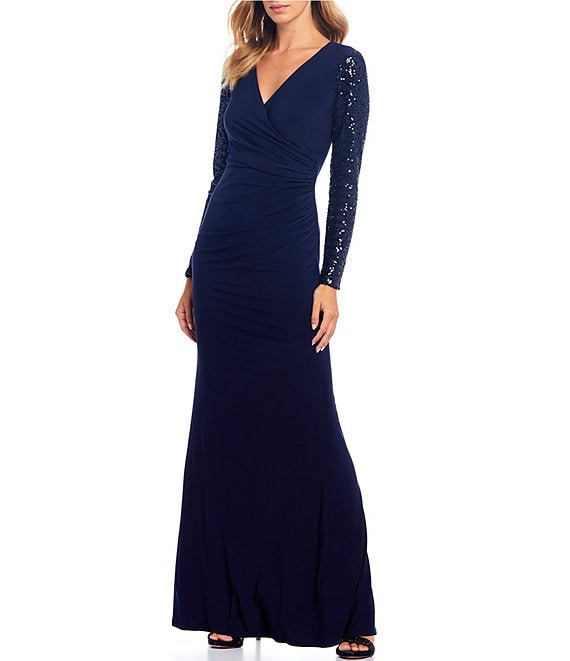 Eliza J Sequin Sleeve Faux Wrap Ruched Side Stretch Gown