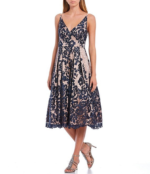 Color:Navy - Image 1 - V-Neck Sleeveless Illusion Lace Midi Dress