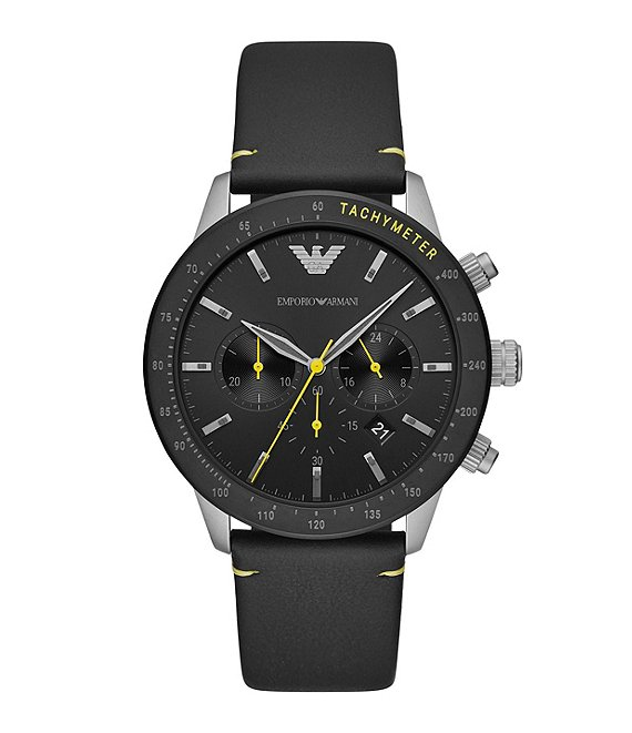 Color:Silver - Image 1 - Men's Chronograph Black Leather Watch