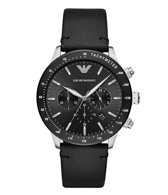 Color:Black - Image 1 - Men's Quartz Chronograph Black Leather Watch