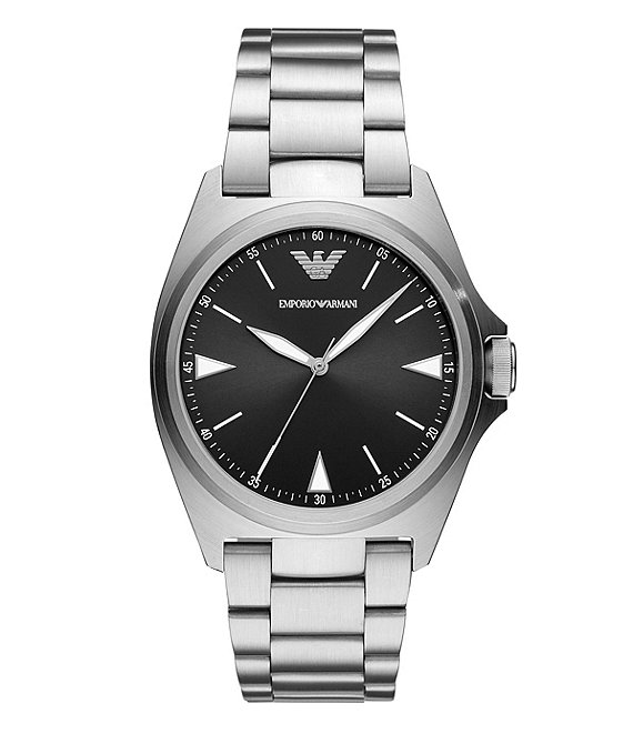 Color:Silver - Image 1 - Men's Three-Hand Stainless Steel Watch