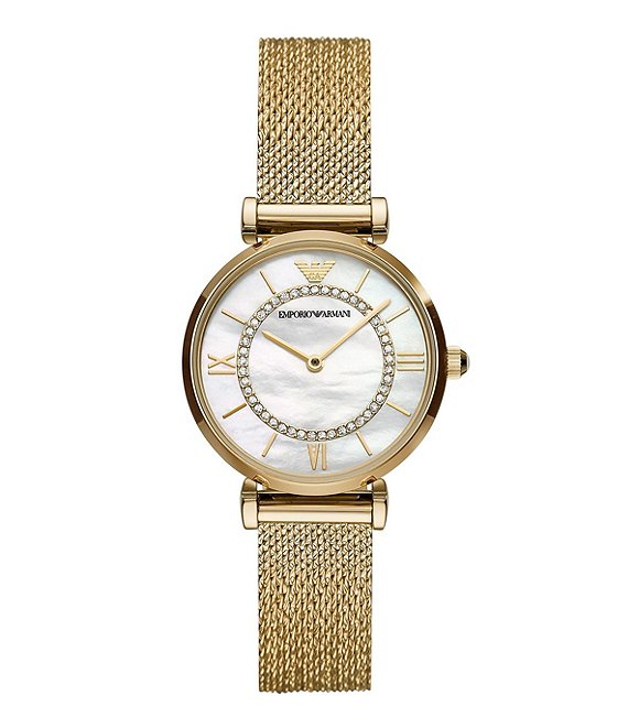 Color:Gold - Image 1 - Women's Two-Hand Gold-Tone Stainless Steel Mesh Watch