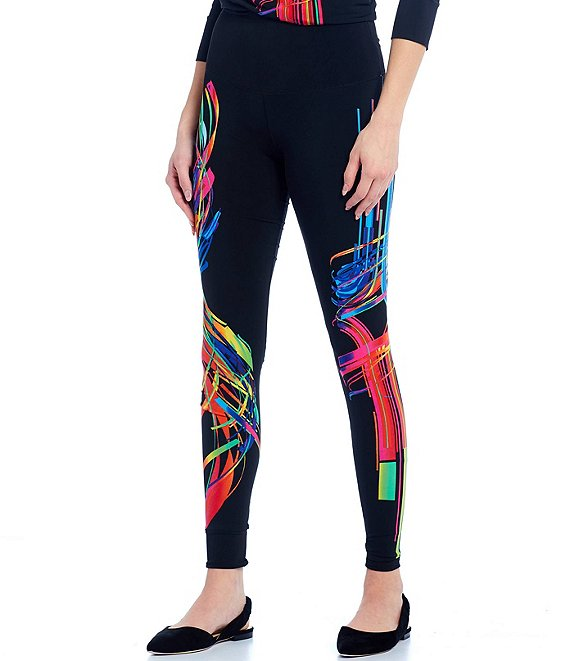 Color:Monet - Image 1 - Abstract Print Reversible High Waist Leggings