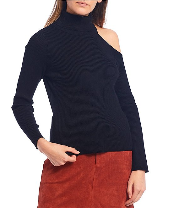 Color:Black - Image 1 - Mock Neck Long Sleeve Cut Out Shoulder Sweater