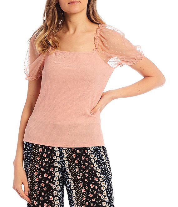 Color:Blush - Image 1 - Sheer Puff-Sleeve Square-Neck Clip-Dot Knit Top
