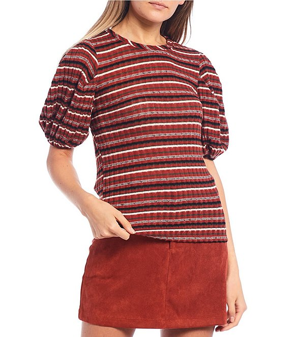 Color:Cinnamon - Image 1 - Short Puff Sleeve Striped Tee