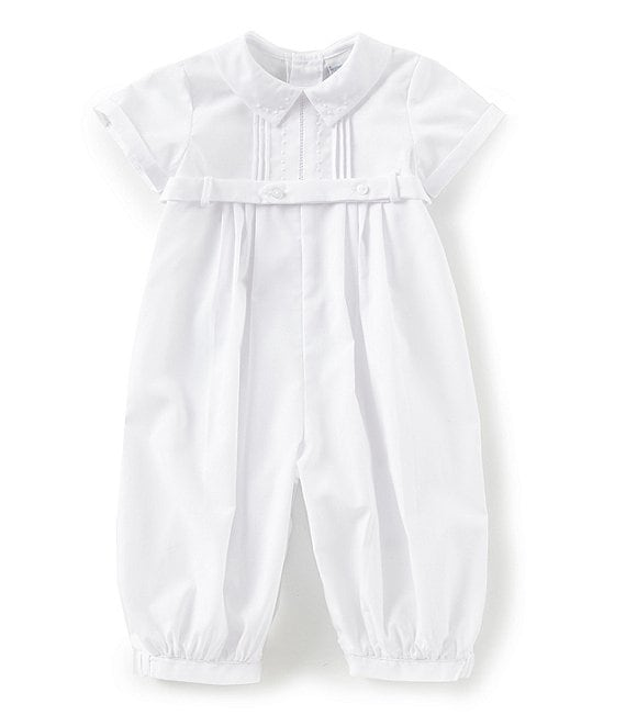 Color:White - Image 1 - Baby Boys 3-9 Months Pleated Dot Short Sleeve Coverall