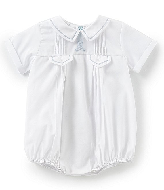 Color:White/Blue - Image 1 - Baby Boys 3-9 Months Teddy Bear Embroidered Shortalls