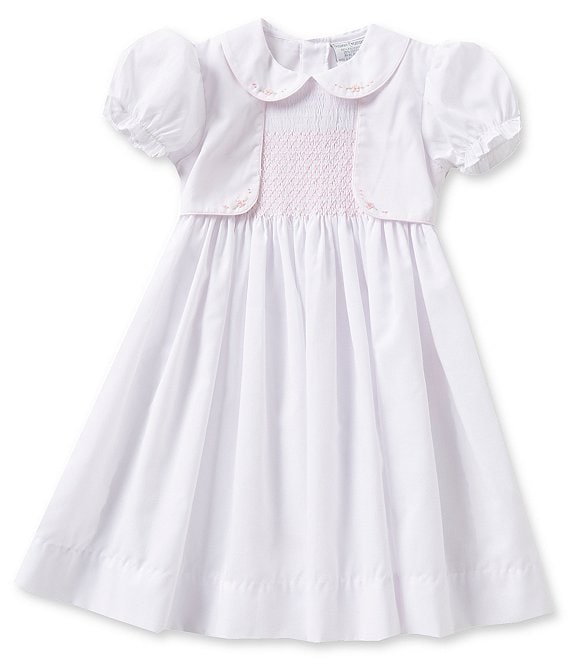 Color:White - Image 1 - Baby Girls 12-24 Months Mock Vest Dress