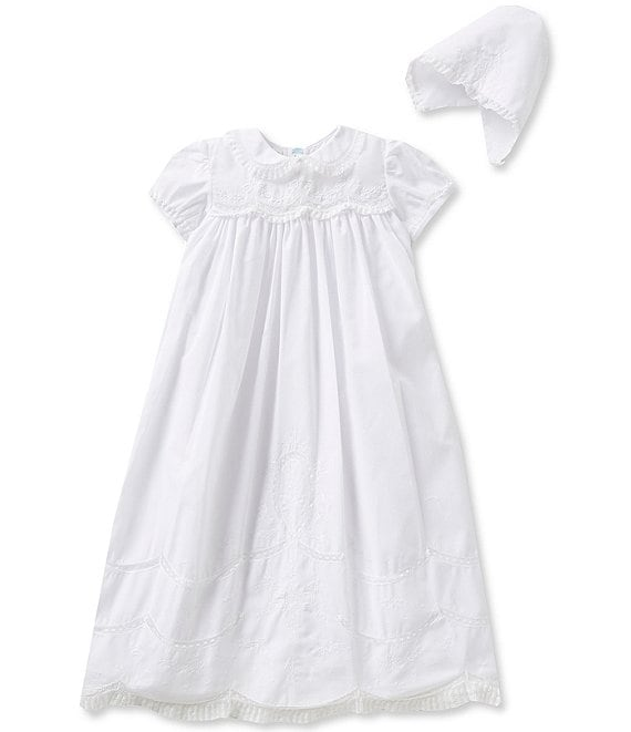 Color:White - Image 1 - Baby Girls Newborn-12 Months Scalloped Yoke Christening Gown
