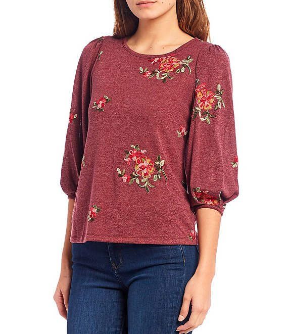 Color:Grape - Image 1 - Petite Size Eloise Floral Print 3/4 Balloon Sleeve Popover Sweater