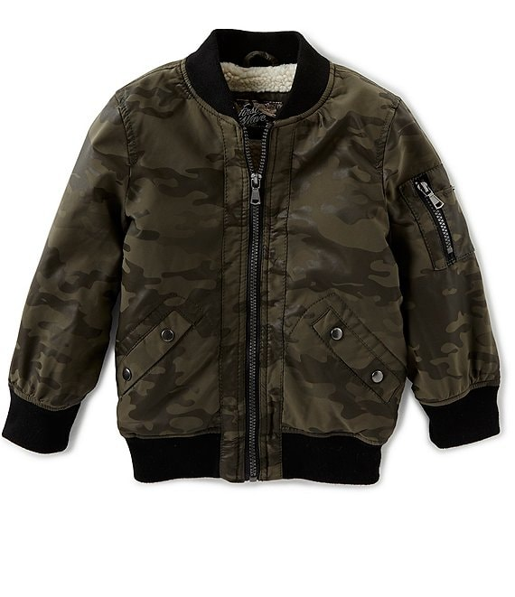 First Wave Little Boys 2T-7 Camo Print Faux Leather Bomber Jacket